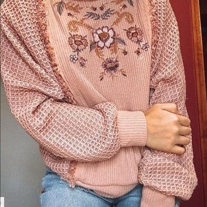 Knox Rose embroidered waffle knit sweater Size M